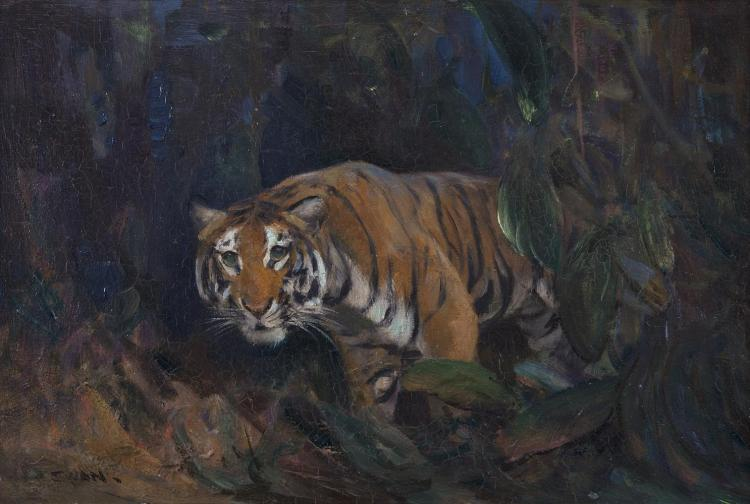Cuthbert Edmund Swan (1870-1931)Tiger in the UndergrowthOil on board, 30 x 45.5cm (12 x 18'')Signed
