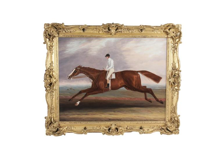 Samuel Spode (1798-1872)HarkawayOil on canvas, 71 x 94cm (28 x 37'')Signed, Inscribed with titleHarkaway was a chesnut horse by Economist out of Fanny Dawson, by Nackbocklish out of his Miss Tooley, by Teddy the Grinder. He was bred at Sheepbrid