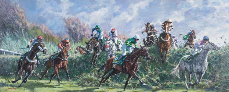 Roy Lyndsay (b.1945)A.P. McCoy aboard 'Don't Push It' at the Canal Turn, Aintree Grand National 2010Oil on canvas, 50 x 120cm (20 x 47'')Signed; signed again and inscribed with title versoThis painting was aided by initially walking the Aintree