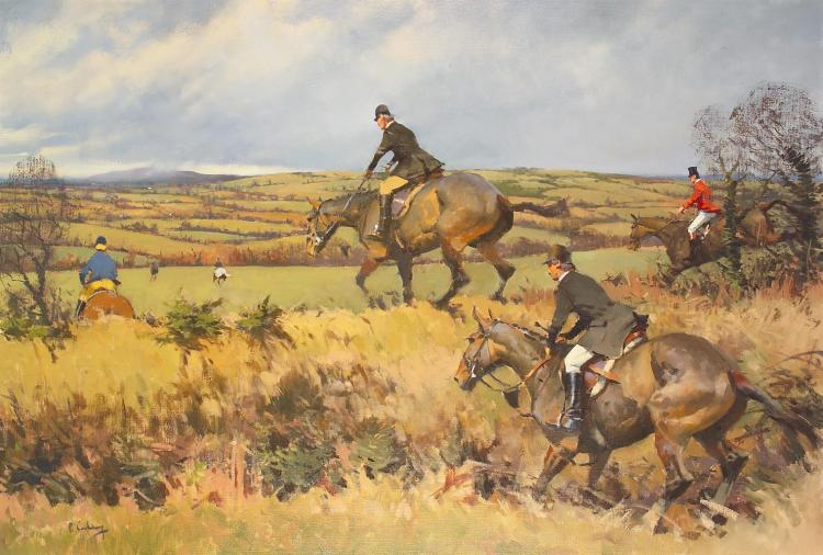Peter Curling (b.1955)Out into the FieldOil on canvas, 76 x 112cm (30 x 44)Signed