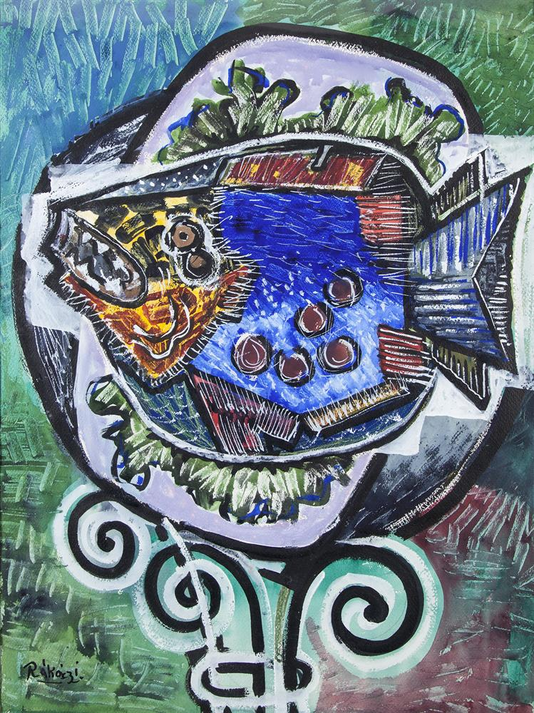 Basil Ivan Rákóczi (1908-1979)Fish on a PlateGouache, 68 x 50cm (26¾ x 19½'')SignedProvenance: Artist's family by descent.Fish on a Plate was painted in January 1956 in Bd Jourdan, Paris, where Rakoczi was staying with a friend. He was waiting t