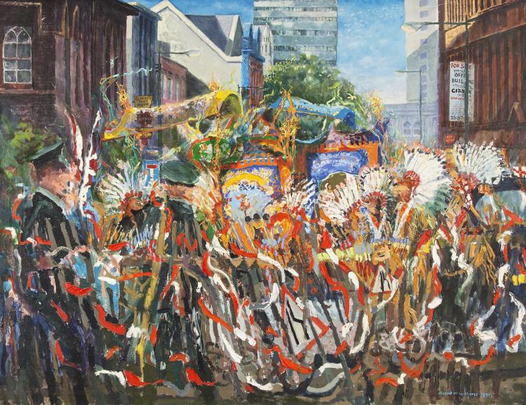 Joseph McWilliams PPRUA (1938-2015)Orange Men and IndiansOil on canvas, 152 x 201cm (59¼ x 79)Signed and dated 1991; inscribed with title versoMcWilliams had for a long time been stimulated to paint the Twelfth of July marches in different parts
