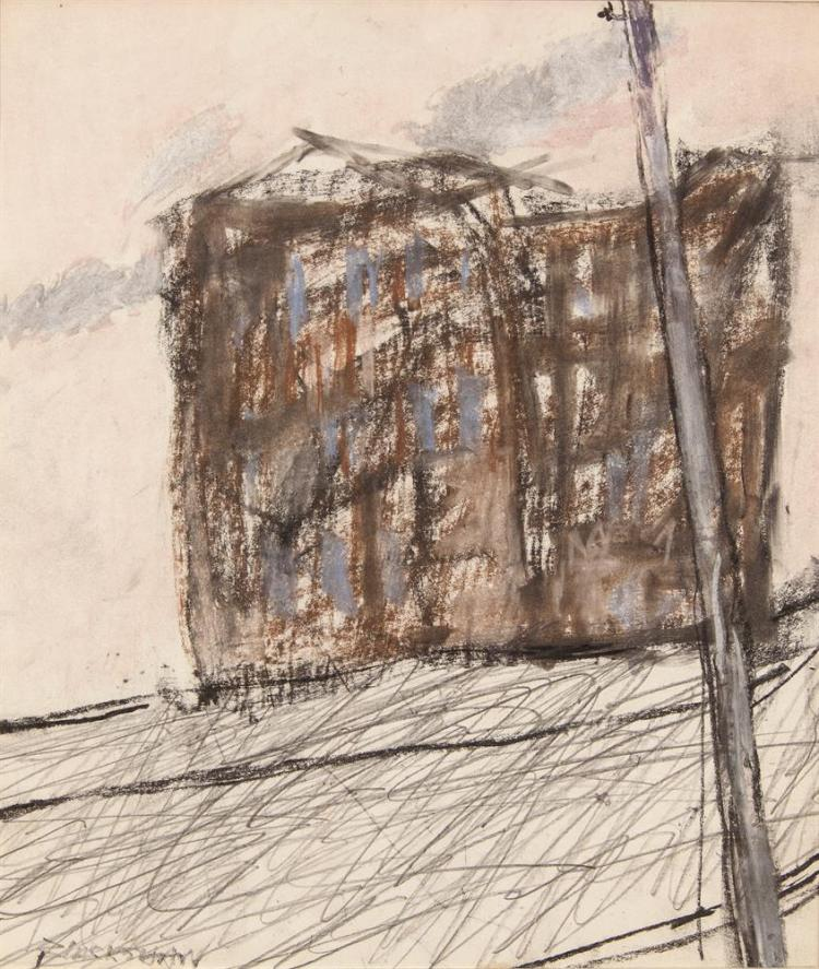 Basil Blackshaw HRHA (1932-2016)House with Lamp PostMixed media on paper, 29.25 x 24cm (11½ x 9½'')Signed