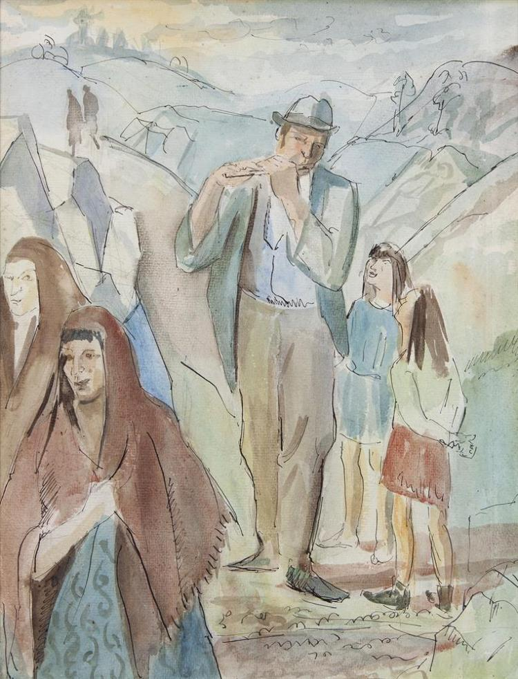 Basil Blackshaw HRHA (1932-2016)The Gypsy Flute PlayerWatercolour, 34 x 26cm (13½ x 10¼'')Taylor Prize competition label versoProvenance: From the estate of the artist Cherith McKinstry, close friend of the artist, and her sale De Veres, November