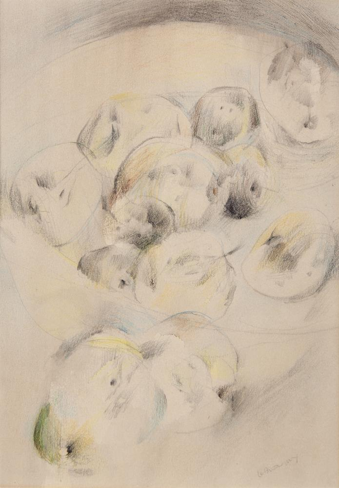 Louis Le Brocquy HRHA (1916-2012)FruitColoured pencil, 22.5 x 16cm (9 x 6¼'')Signed; signed again, inscribed with title and dated 1945 on old backing board versoExhibited: Oireachtas Exhibition 1945, Catalogue No.174.Provenance: 'Irish Art Sale'