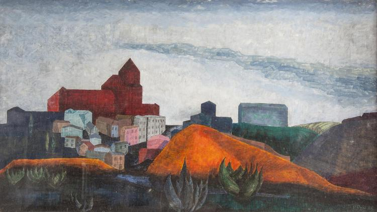 Patrick Pye RHA (b.1929)The Taverna Hospital, Toledo from the other side of the River TemperaSigned and dated (19)'55Inscribed with title and conservation instructions verso