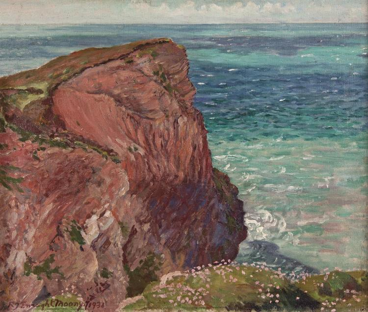 Robert James Enraght Mooney (1879-1946)Trevellas RocksOil on canvas, 36 x 42cm (14 x 16½)Signed and dated 1931