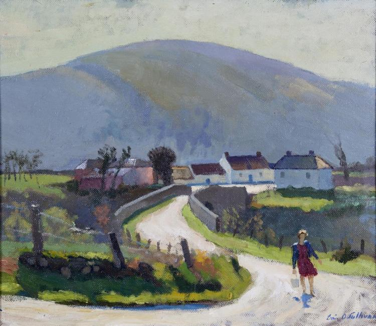 Seán O'Sullivan RHA (1906-1964)Girl with Pail on West of Ireland LanewayOil on board, 52 x 60cm (20½ x 23¾'')SignedProvenance: The Hamilton Family, Tulfarris House and thence by descent.