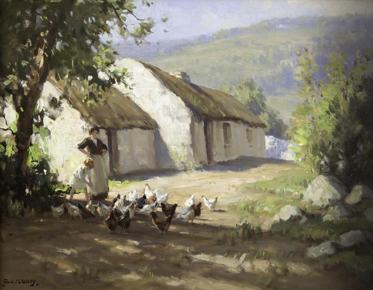 Frank McKelvey RHA RUA (1895-1974)Feeding the Hens - A Woman and Child by a Thatched CottageOil on canvas, 51 x 66cm (20 x 26'')SignedThe setting for McKelvey's paintings on this subject is generally one of two locations; the Maze, County Down wh