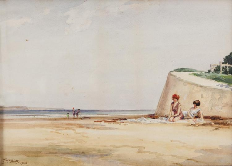 Frank McKelvey RHA RUA (1895-1974)Bathers on the beach, Co. AntrimWatercolour, 46 x 50.75cm (18 x 20)Signed and dated 1922
