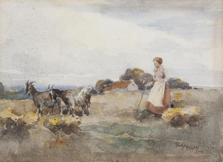 Frank McKelevy RHA RUA (1895-1974)Woman with GoatsWatercolour, 19 x 26cm (7½ x 10¼'')Signed