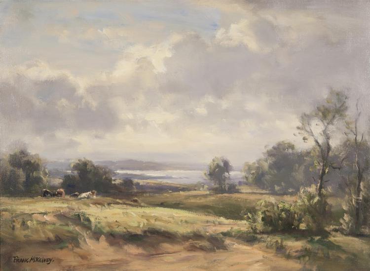 Frank McKelvey RHA RUA (1895-1974)Cows in a Western LandscapeOil on canvas, 51 x 68.5cm (20 x 27'')Signed