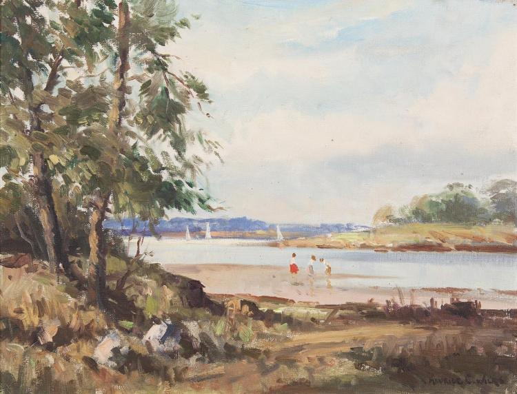 Maurice C. Wilks RUA ARHA (1910-1984)On Stangford Lough, Near Mahee, Co. DownOil on canvas, 35.5 x 45.5cm (14 x 18'')Signed; inscribed with title verso