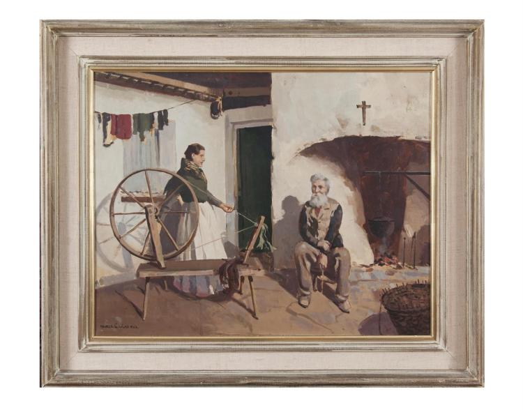 Maurice C. Wilks RUA ARHA (1910-1984)Cottage Interior, ConnemaraOil on canvas, 55.5 x 70cm (21¾ x 27½'')Signed