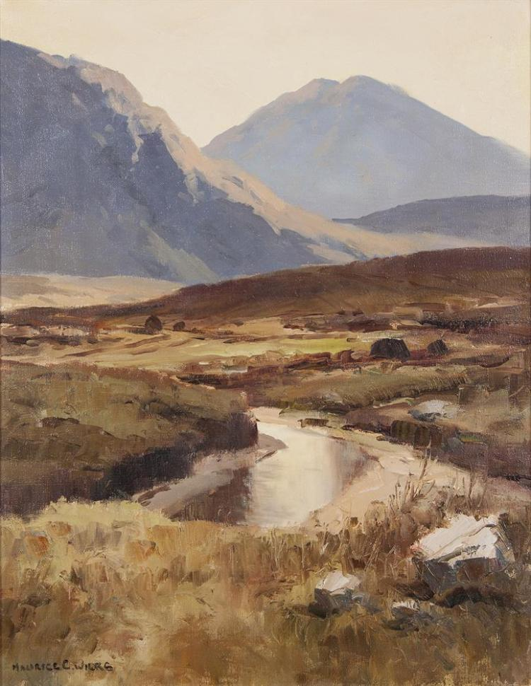 Maurice C. Wilks RUA ARHA (1910-1984)Evening Light, Inagh Valley, ConnemaraOil on canvas, 45 x 35cm (17¾ x 13¾)Signed