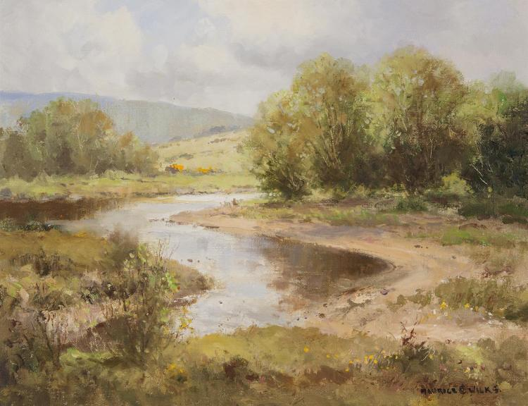 Maurice C. Wilks RUA ARHA (1910-1984)On the Dun River, Cushendun, Co. AntrimOil on canvas, 35.5 x 45.5cm (14 x 18'')Signed