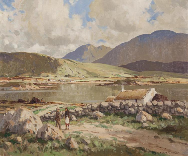 Maurice C. Wilks RUA ARHA (1910-1984)Peaceful Morning, Roundstone, Co. GalwayOil on canvas, 61 x 74cm (24 x 29'')Signed; inscribed with title verso