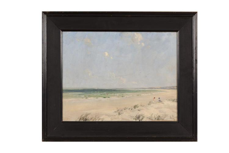 James Humbert Craig RHA RUA (1877-1944)Millisle Strand near DonaghadeeOil on canvas, 35.5 x 45.5cm (14 x 18'')Signed and inscribed Millisle on artist's label verso