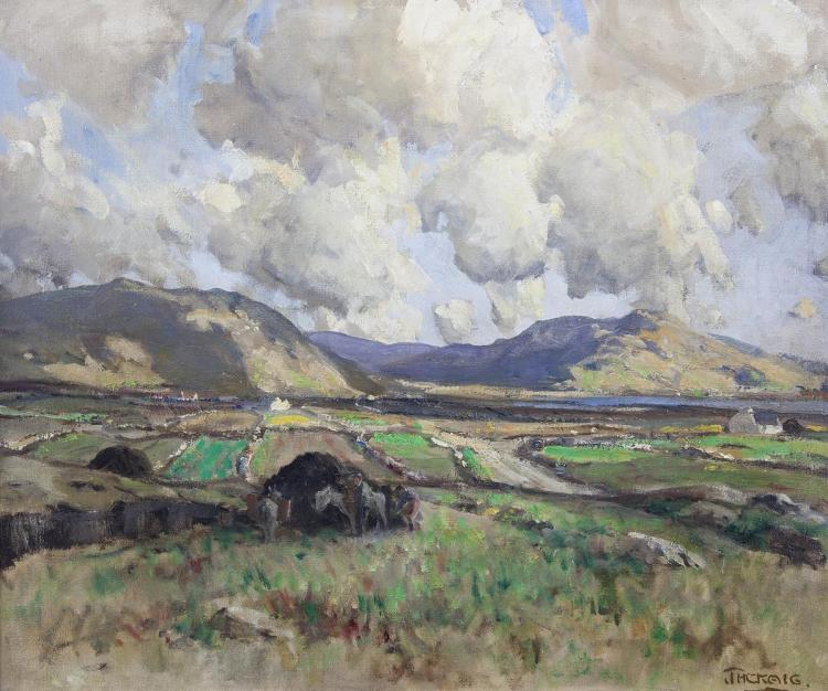 James Humbert Craig RHA RUA (1877-1944)The Rosses, Co. Donegal - Building a Turf ReekOil on canvas, 50 x 60cm (19¾ x 23¾'')Signed; signed and inscribed verso