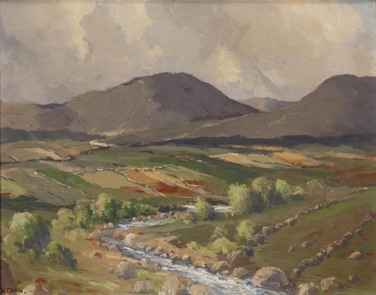 James Humbert Craig RHA RUA (1877-1944)Mountain Landscape, DonegalOil on panel, 40 x 50cm (15¾ x 19¾'')Signed