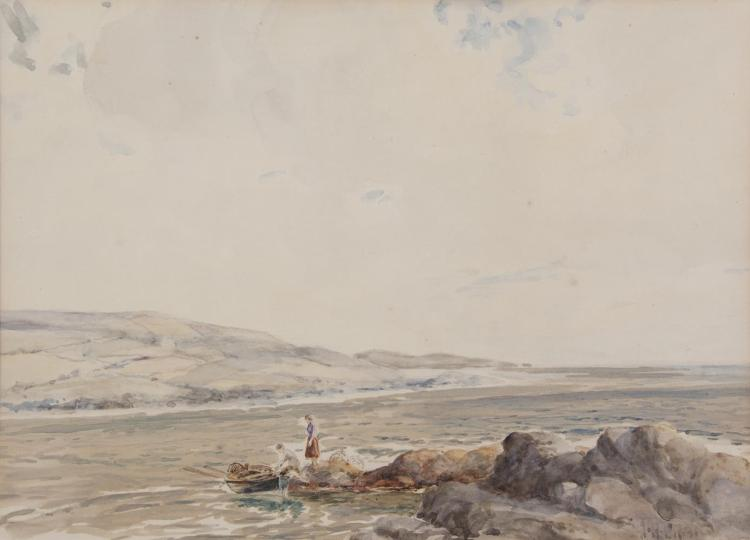 James Humbert Craig RHA RUA (1877-1944)Two Figures with a Rowing Boat in an EstuaryWatercolour, 26 x 36cm (10¼ x 14¼'')Signed