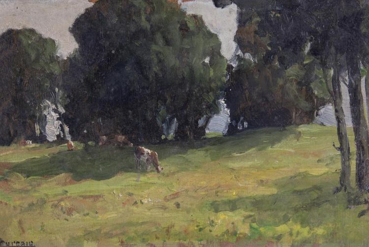 James Humbert Craig RHA RUA (1877-1944)Lord Cushendun's Estate, 1944Oil on panel, 20 x 30cm (8 x 11¾'')SignedProvenance: John Magee, Belfast, label verso.