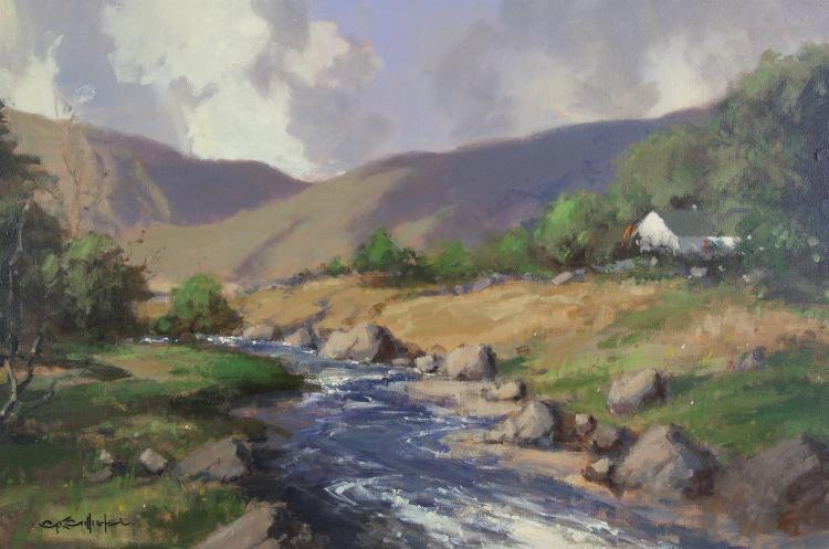 George Gillespie RUA (1924-1995)Cottage in a River and Mountain LandscapeOil on canvas, 47 x 74cm (18½ x 29'')Signed