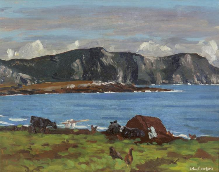 Maurice MacGonigal PRHA HRA (1900-1979)Menaun Cliffs, AchillOil on board, 30 x 38cm (12 x 15'')Signed; inscribed with title versoExhibited: 'Irish Paintings Exhibition', The Gorry Gallery June 2001, Catalogue No.58.