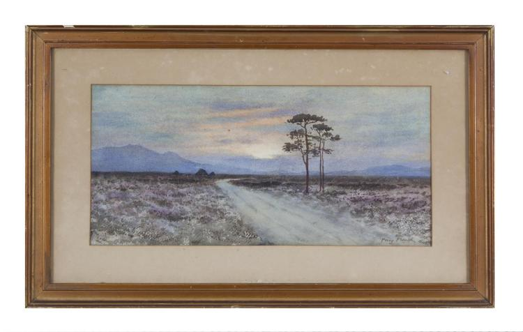 William Percy French (1854-1920) A Moorland Path at Sunset Watercolour, 23.5 x 50 cm (9¼ x 19¾'') SignedProvenance: Important Irish Art Sale, these rooms, 3rd December 2008, where purchased by present owner
