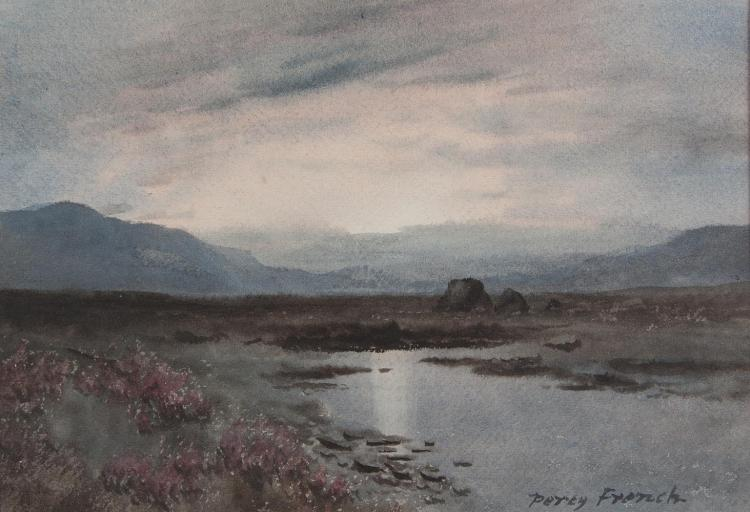 William Percy French (1854-1920)West of Ireland Bogland with Turf StacksWatercolour, 23 x 33cm (9 x 13'')Signed