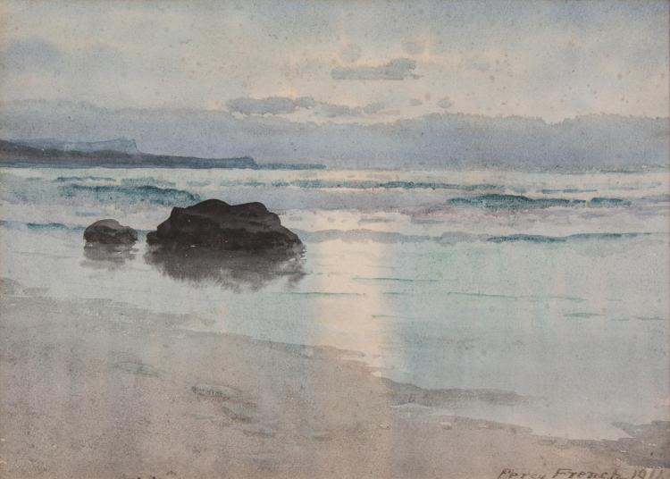 William Percy French (1854-1920)Twilight over the Sea at BundoranWatercolour, 25 x 34cm (9¾ x 13½'')Signed and dated 1916