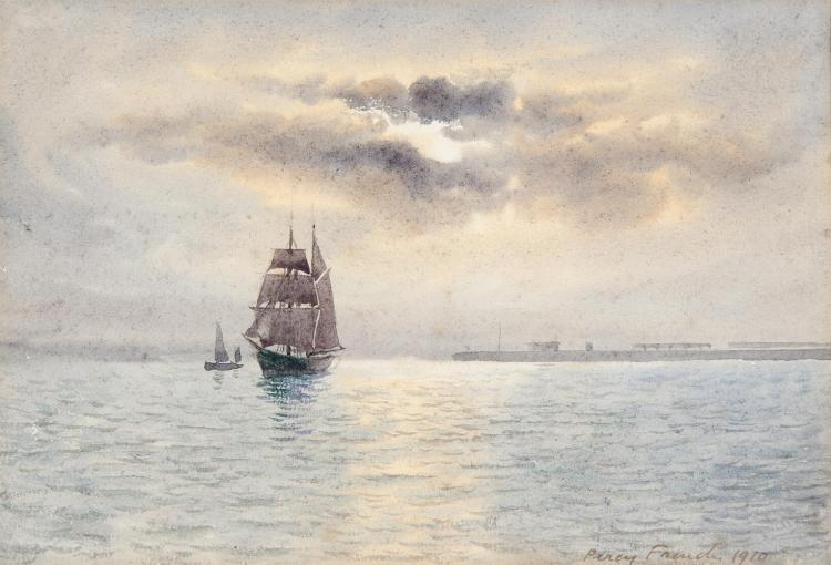 William Percy French (1854-1920)Sailing Ship off the CoastWatercolour, 17 x 25cm (6¾ x 9¾'')Signed and dated 1910Provenance: With William Rodman, Belfast