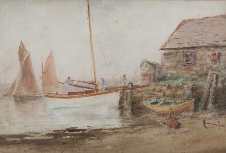 Alexander Williams RHA (1846-1930)Fitting Out at RingsendWatercolour, 18 x 27cm (7 x 10½'')Signed and inscribed