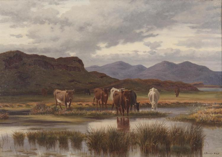 Augustus Burke RHA (1838-1891)Cattle grazing by a river bankOil on canvas, 35 x 50cm (13¾ x 19¾'')Signed