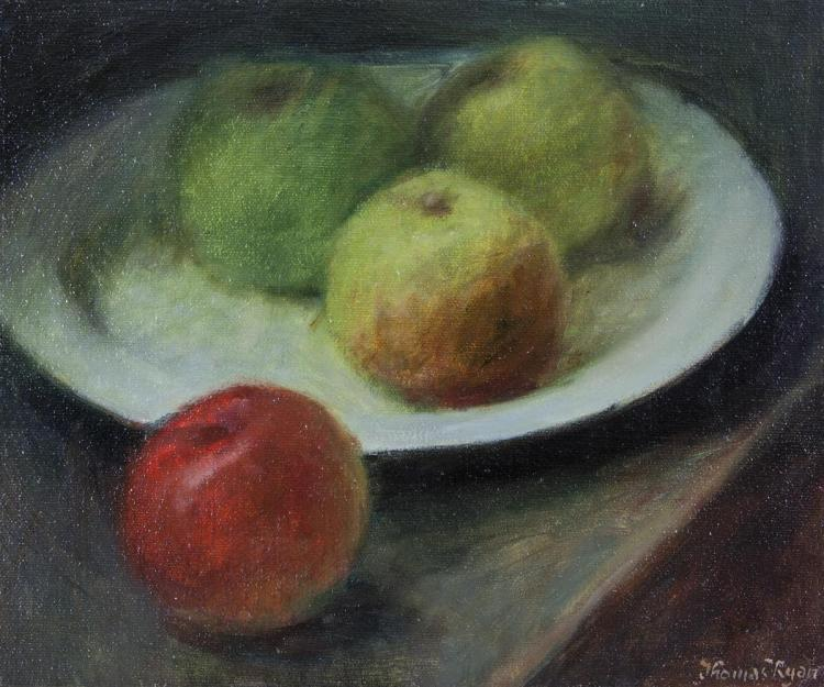 Thomas Ryan PRHA (b.1929)Plate of Apples (1980)Oil on board, 25 x 30cm (9¾ x 11¾'')Signed