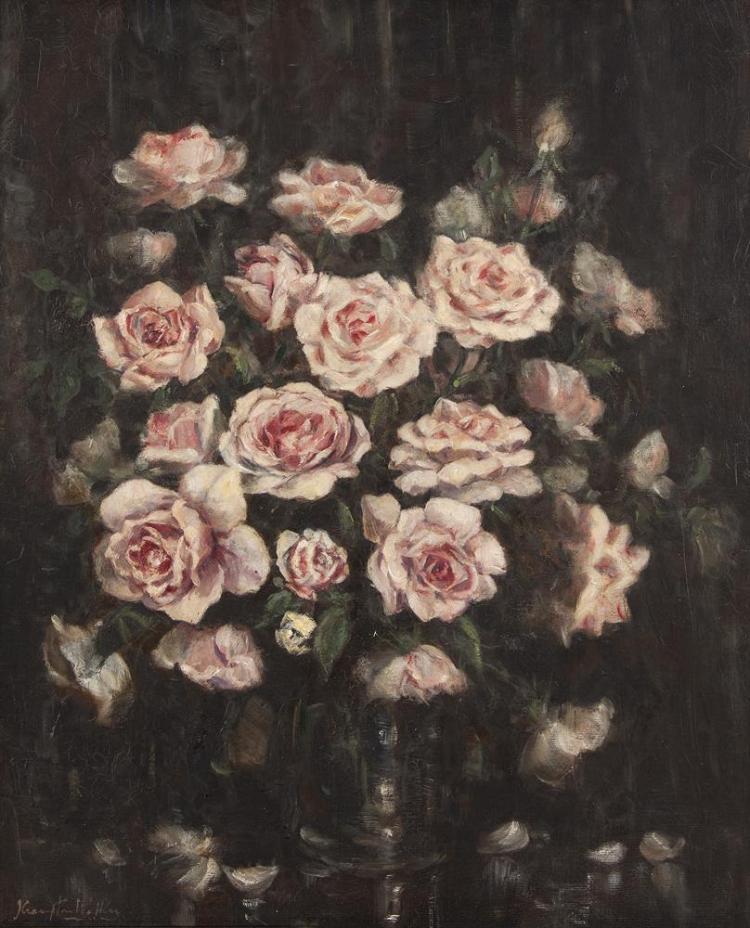 John Crampton Walker ARHA (1890-1942)Still Life Study of RosesOil on canvas, 60 x 50cm (23½ x 19¾)SignedProvenance: Victor Waddington label verso