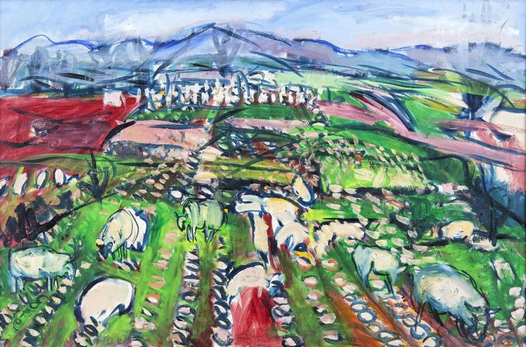 Elizabeth Cope (b.1952)Carlow Landscape with Grazing SheepOil on canvas, 60 x 90cm (23 x 35)Signed, also signed and dated (19)'88 versoThis hung in The Plurabelle Brasserie in The Conrad Hotel.