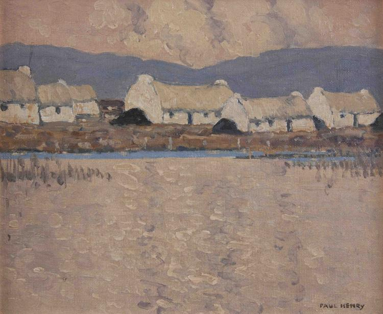 Paul Henry RHA (1876-1958)Cottages (1930-35)Oil on board, 25.4 x 29.9cm (10 x 11¾'')SignedProvenance: Hugh Francis Carey and thence by descent; sale, Christies London, 'The Irish Sale', 12 May 2006, Lot 81, reproduced in colour; Private Collectio