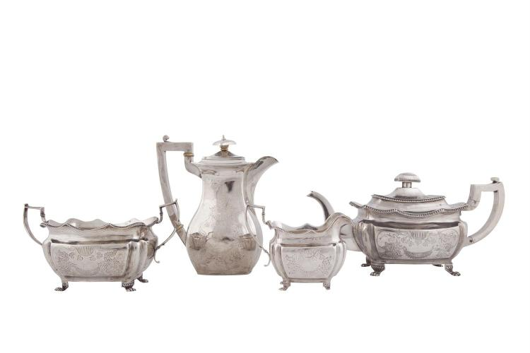 AN IRISH GEORGE III THREE PIECE SILVER TEA SERVICE, Dublin 1814 and 1815, mark of Richard Sawyer, of rectangular panelled baluster form, with shaped wavy and beaded rims, applied angled scroll handles, with bright cut engraved decoration depicting sh