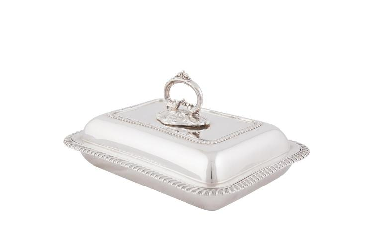 A LATE VICTORIAN SILVER ENTREE DISH, Sheffield 1896, mark of Mappin & Webb, of rectangular form, complete with lid and detachable handle and with gadroon borders, (c.1586g). 29 x 21cm