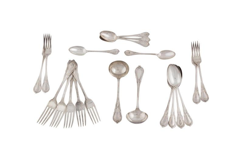 A COLLECTION OF SILVER TAPER HANDLE FLATWARE, London 1863, mark of Samuel H Hayne, decorated in the French style and comprising:- four dessert spoons; five table forks; four smaller table forks; a pair of sauce ladles; and five teaspoons, (c.1368.5g