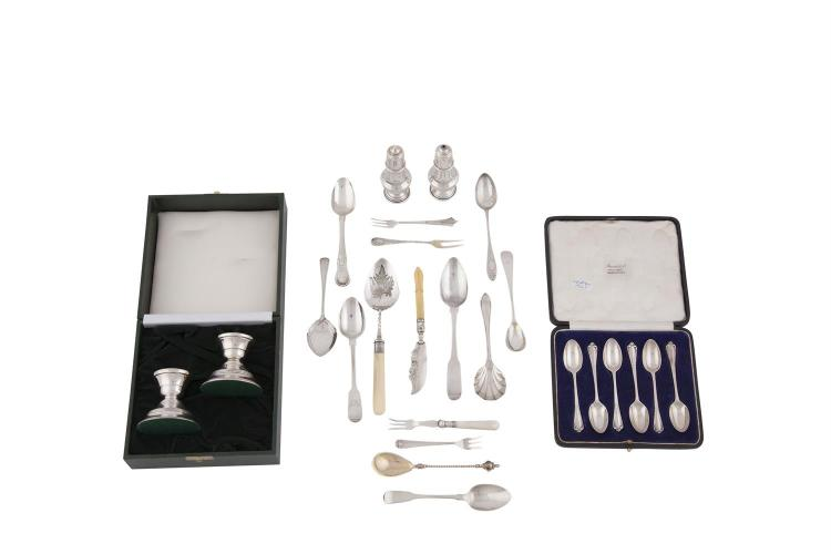 A CASED PAIR OF MODERN IRISH SILVER DWARF CANDLESTICKS, Dublin 1998, mark of Alwright & Marshall Ltd; together with a cased set of six silver teaspoons, London 1925, mark of David Landsborough Fullerton;a pair of salt and pepper shakers, Birmingham