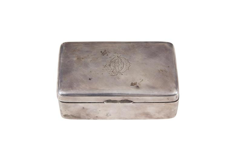 A SILVER OBLONG CIGAR BOX, c.1900, the plain body with hinged crested top. 14cm x 8.5cm x 5cm
