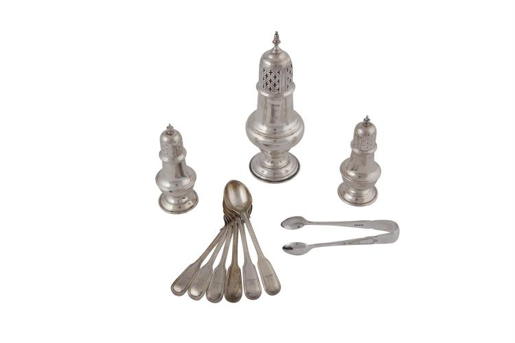 A COLLECTION OF SILVER, comprising: a silver sugar sifter of baluster form, Sheffield 1898, mark of Atkin Brothers; salt and pepper shakers, Chester 1920 & 1922, mark of Stokes & Ireland Ltd; six Victorian teaspoons and silver plated sugar nips