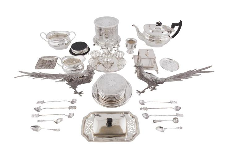 A MISCELLANEOUS COLLECTION OF SILVER PLATE, including bird table ornaments, three piece tea service, eggery etc