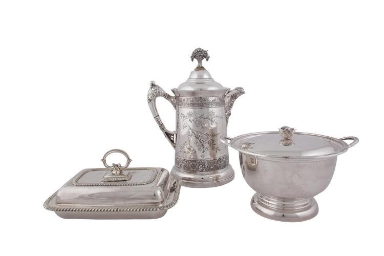 A LARGE SILVER PLATED FLAGON; together with a circular two handled covered bowl; and a rectangular covered entree dish with detachable handle. (3)