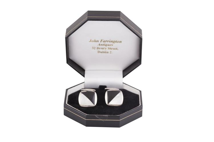 A PAIR OF SILVER, MOTHER-OF-PEARL AND BLACK ENAMEL CUFFLINKS