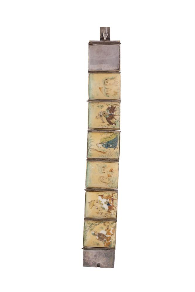 A CHINESE MOTHER OF PEARL PLAQUE BRACELET, each plaque hand painted with hunting scenes, within a silver setting (losses to paintwork). Approx. 19cm