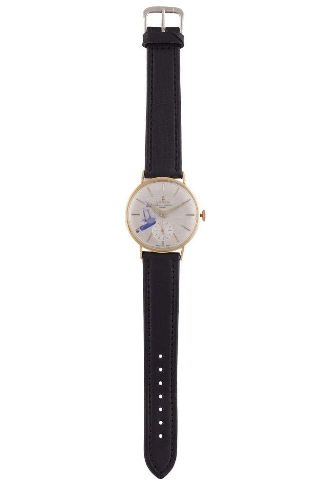 A LANCO WATCH, hours, minutes and seconds, on leather strap