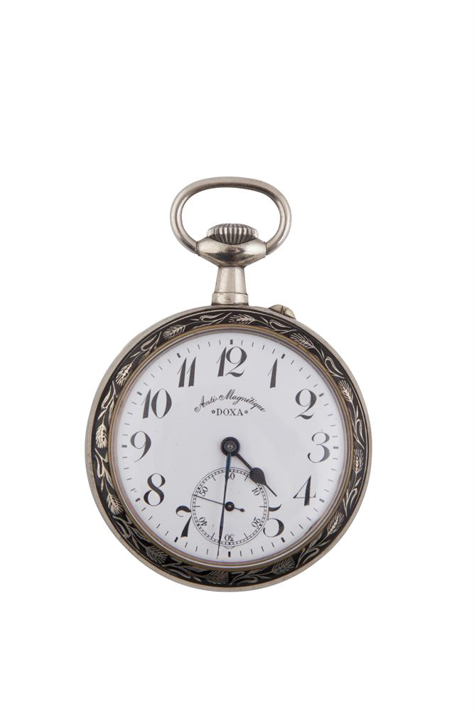 A DOXA NIELLO WORK POCKET WATCH, of large proportions, the open face with white enamel dial and Arabic numerals, the reverse decorated with a bullfighting scene after Goya, surmounted with milled winder and loop. 6.5cm diameter